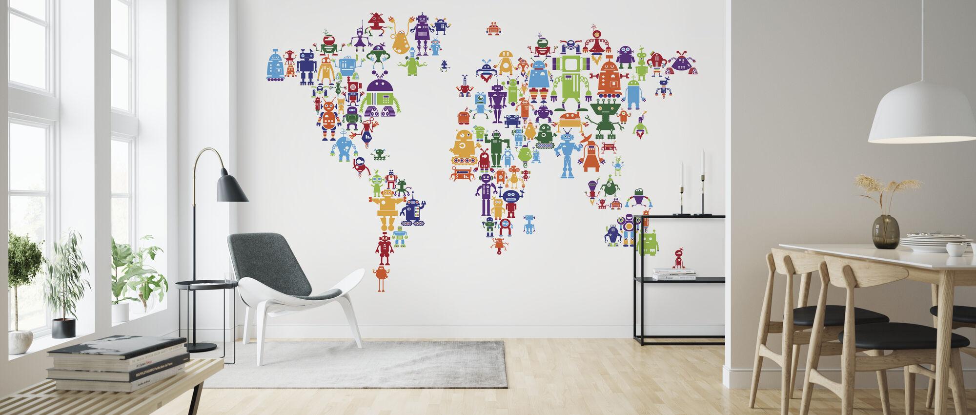 Robotit Maailmankartta - Tapetti - Olohuone