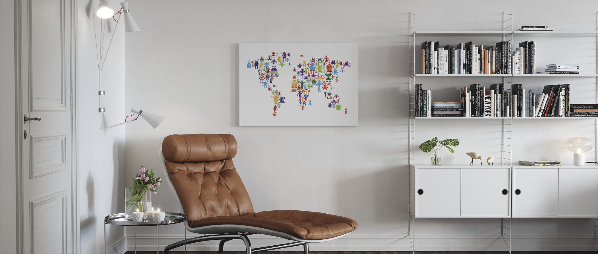 Robots World Map - Canvas print - Living Room