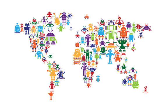 World maps trendy wall murals photowall robots world map gumiabroncs Image collections