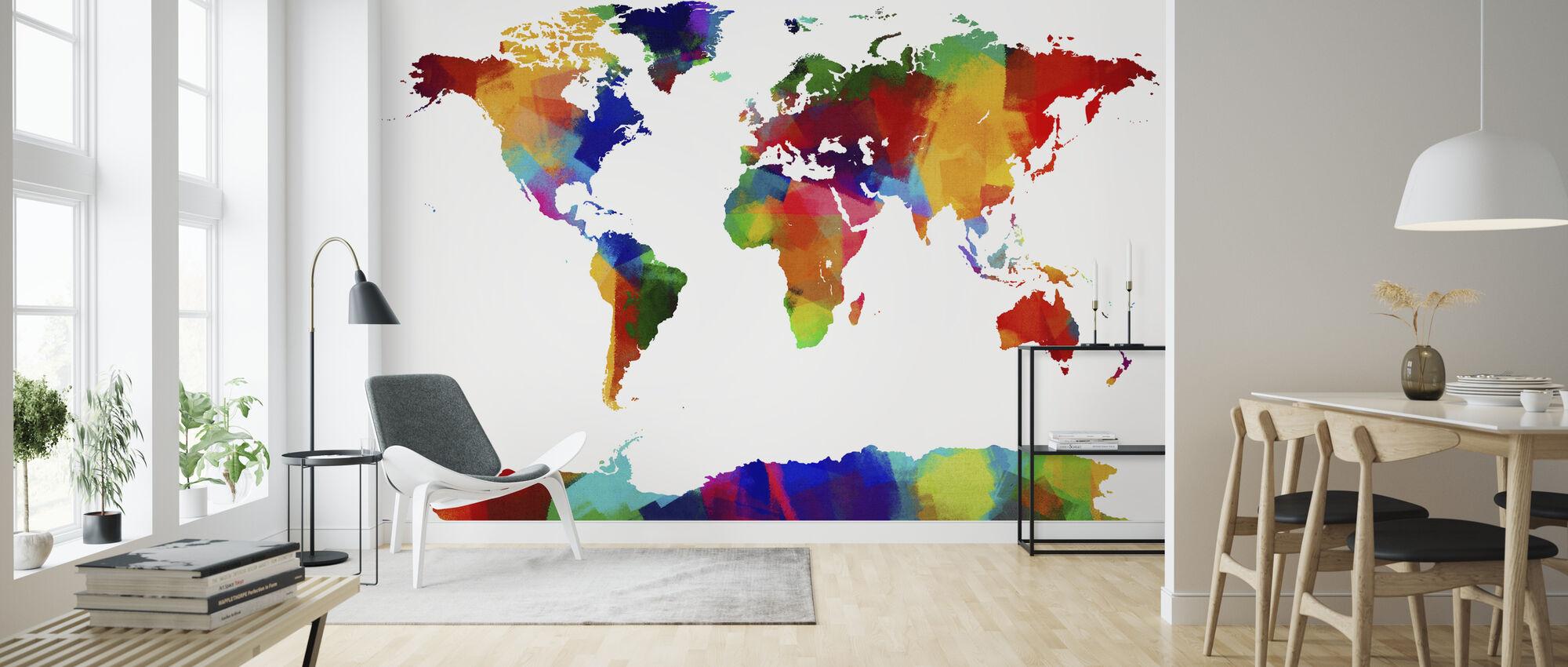 Sponge Paint World Map - Tapet - Stue