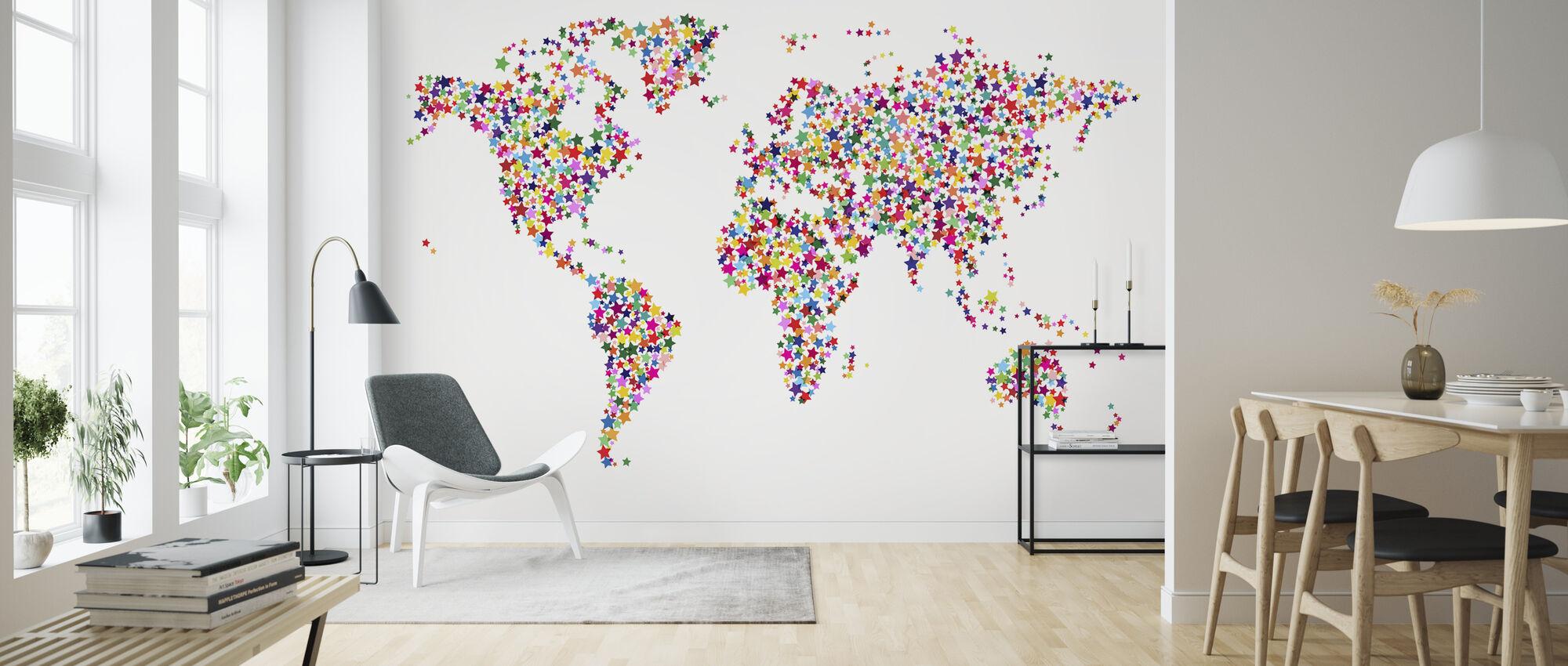 Tähdet maailmankartan väri - Tapetti - Olohuone