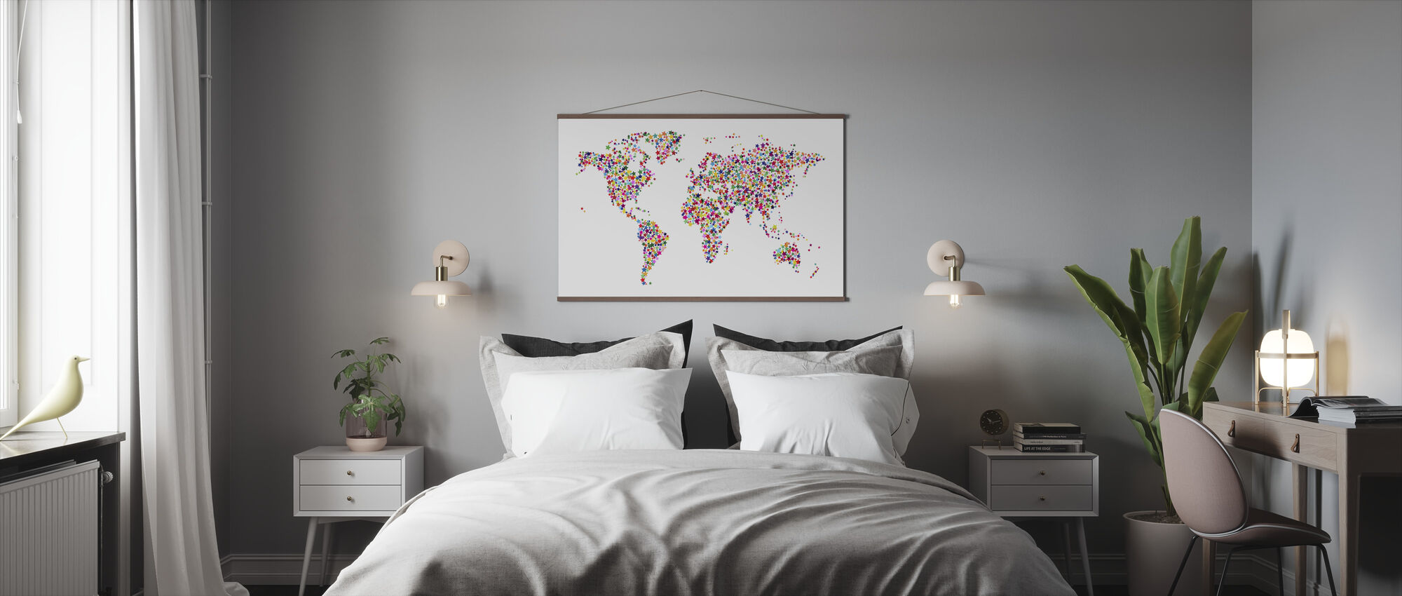 Stars World Map Color - Poster - Bedroom