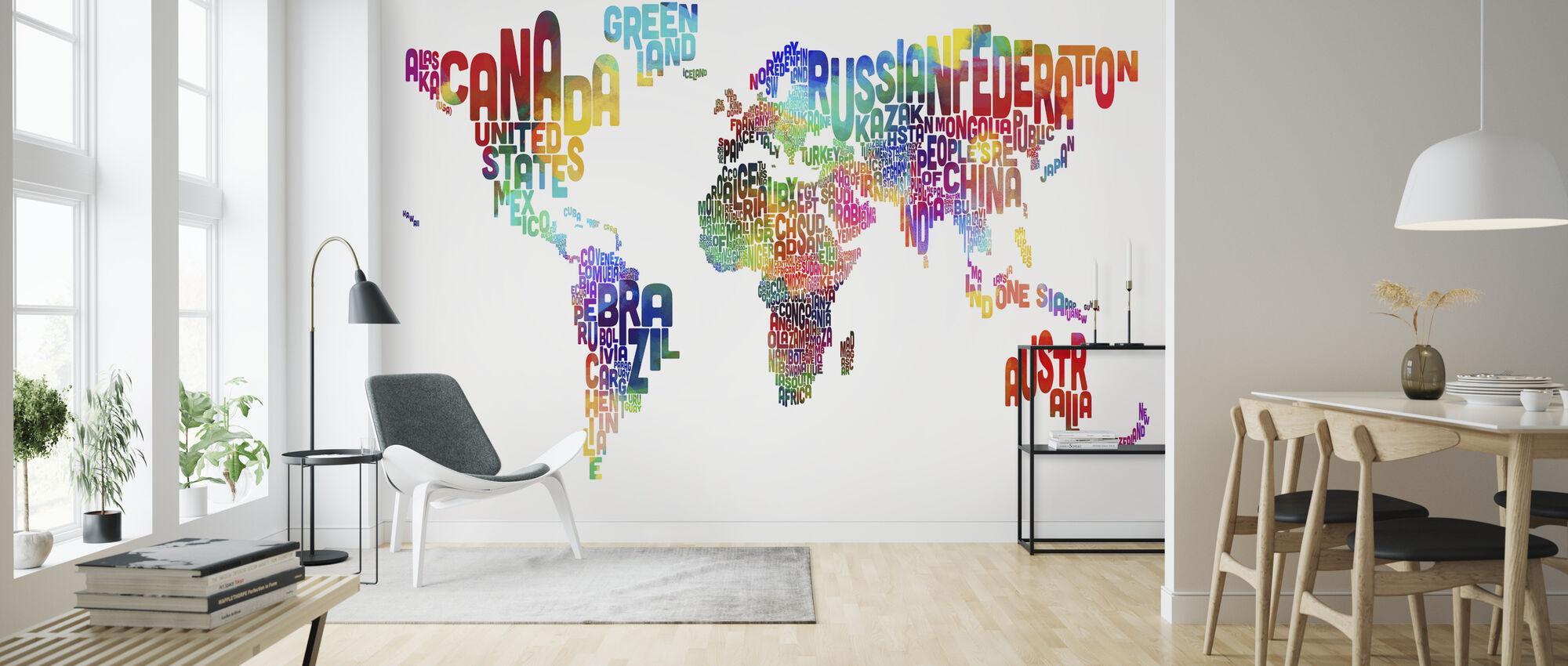 Typografischer Text Weltkarte 2 - Tapete - Wohnzimmer