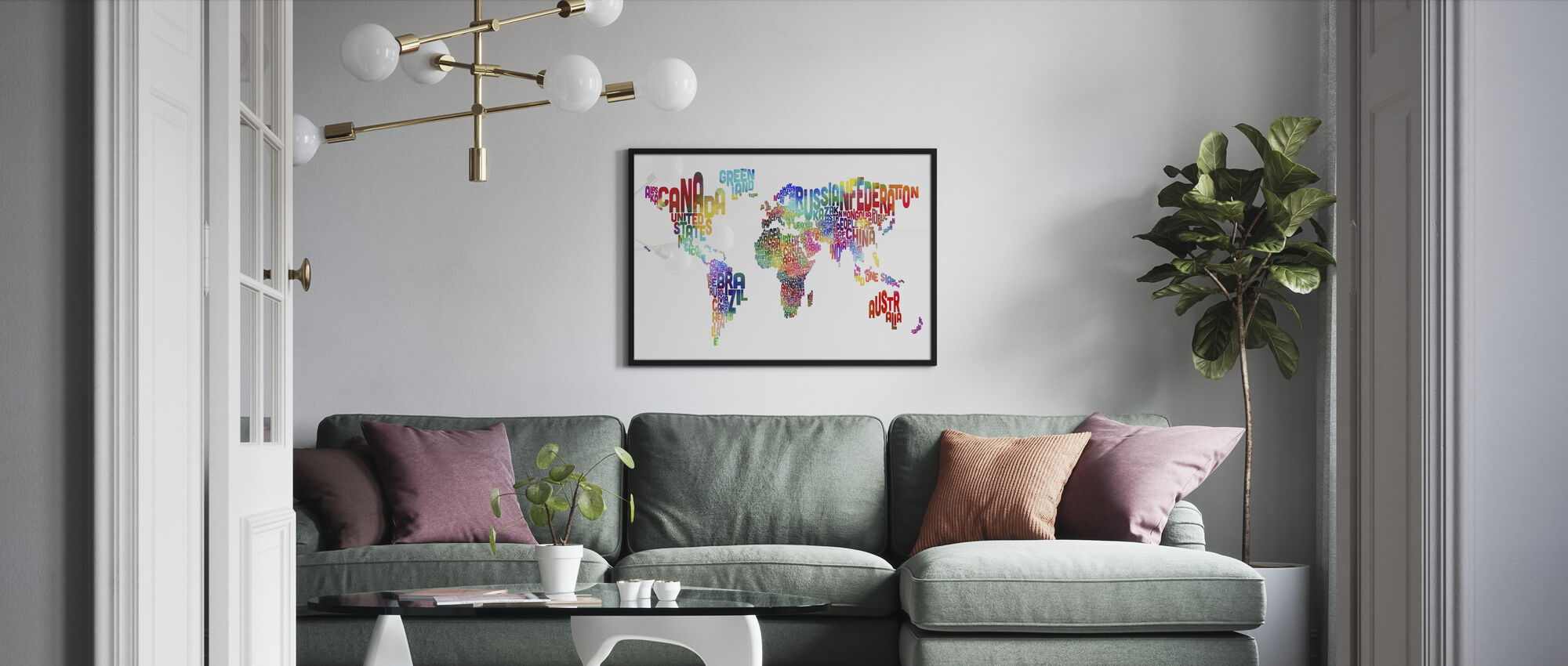 Typographic Text World Map 2 - Framed print - Living Room