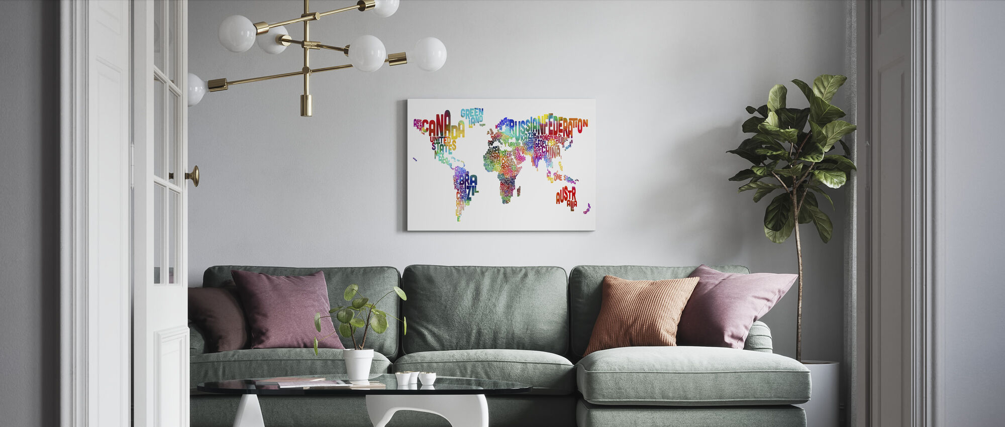 Typografische tekst Wereld Kaart 2 - Canvas print - Woonkamer