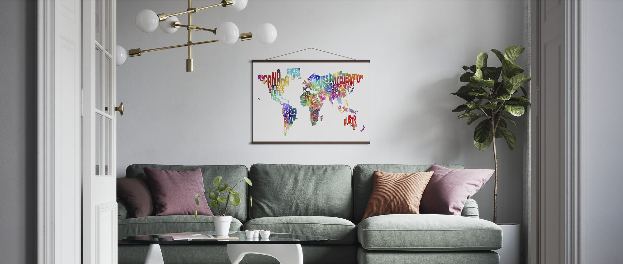 Typographic Text World Map 2 - Poster - Living Room