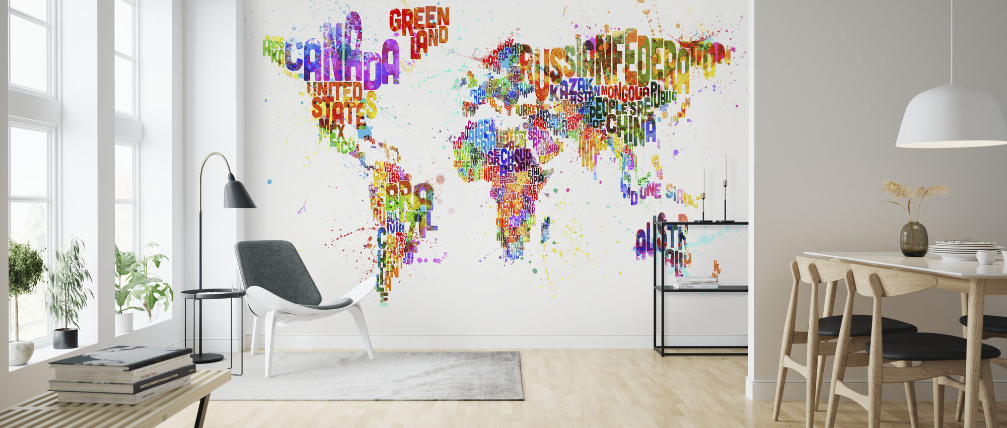 Typographic Text World Map Paint Splash - Wallpaper - Living Room