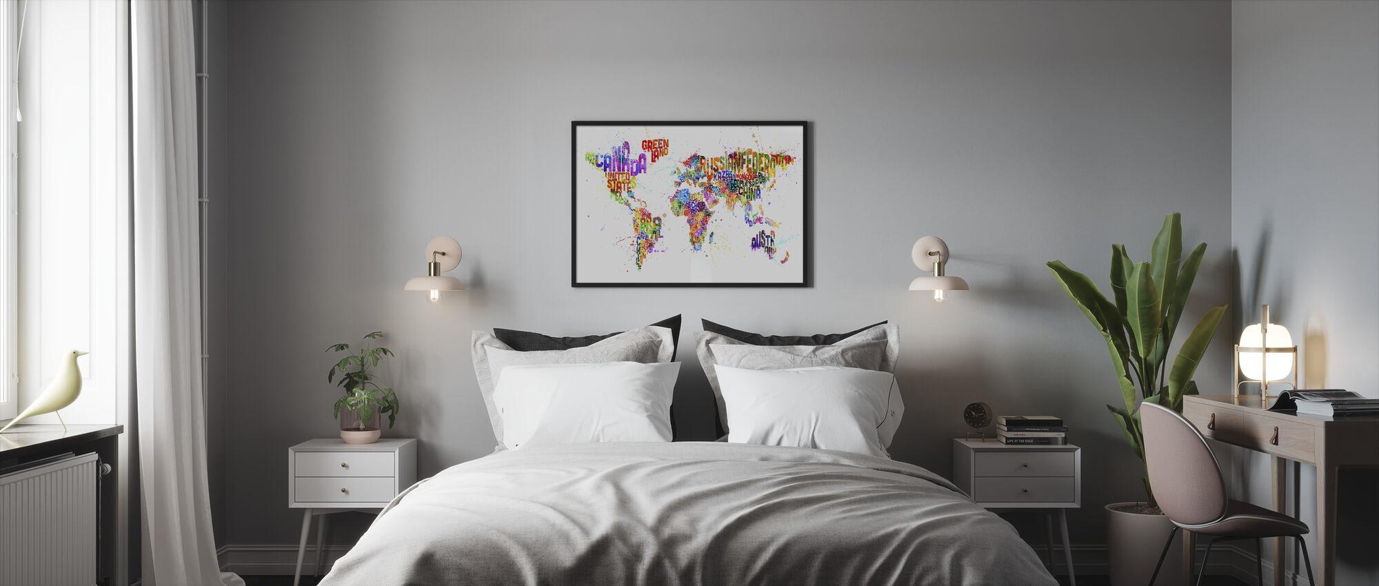 Typografinen teksti maailmankartta Paint Splash - Kehystetty kuva - Makuuhuone