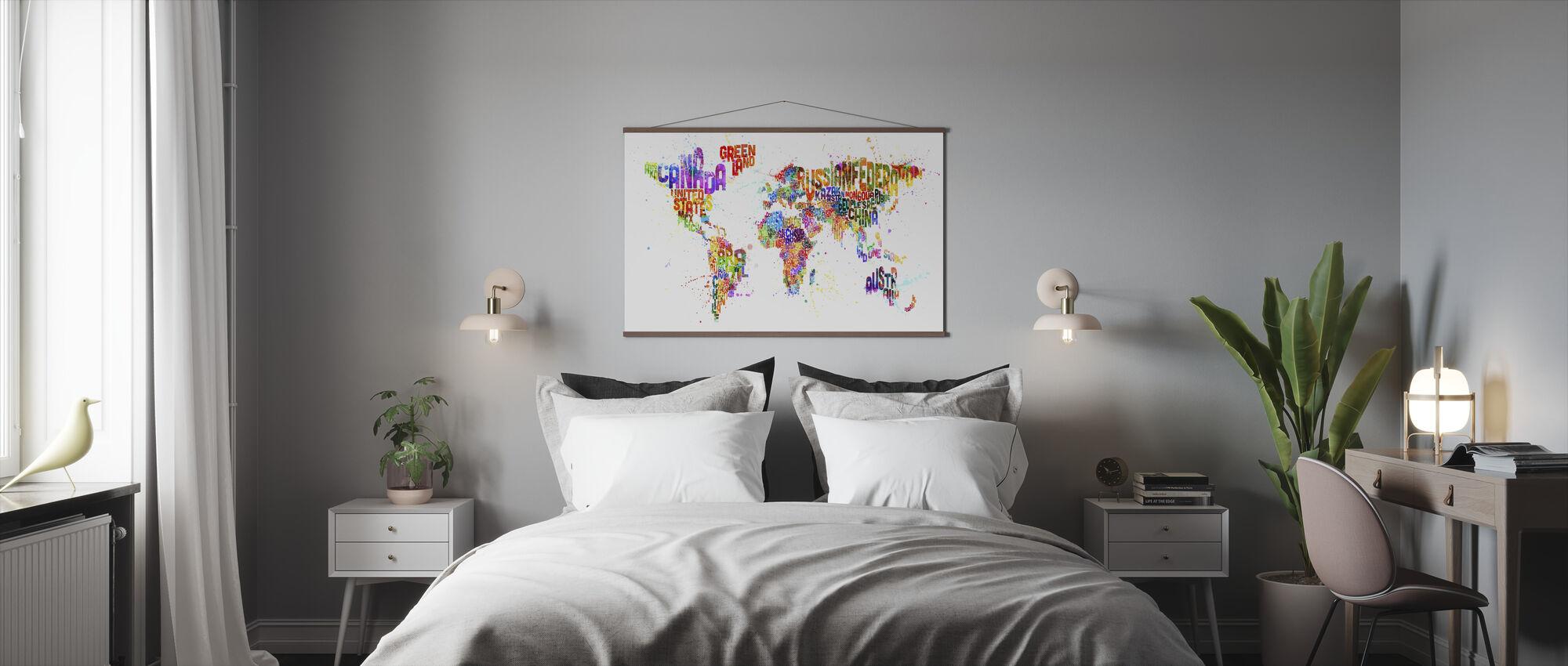 Typografinen teksti maailmankartta Paint Splash - Juliste - Makuuhuone
