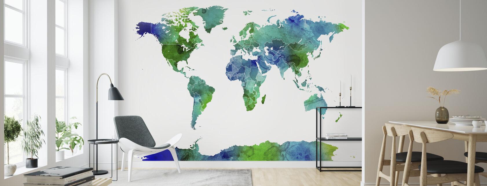 Watercolor World Map Blue & Green - Wallpaper - Living Room
