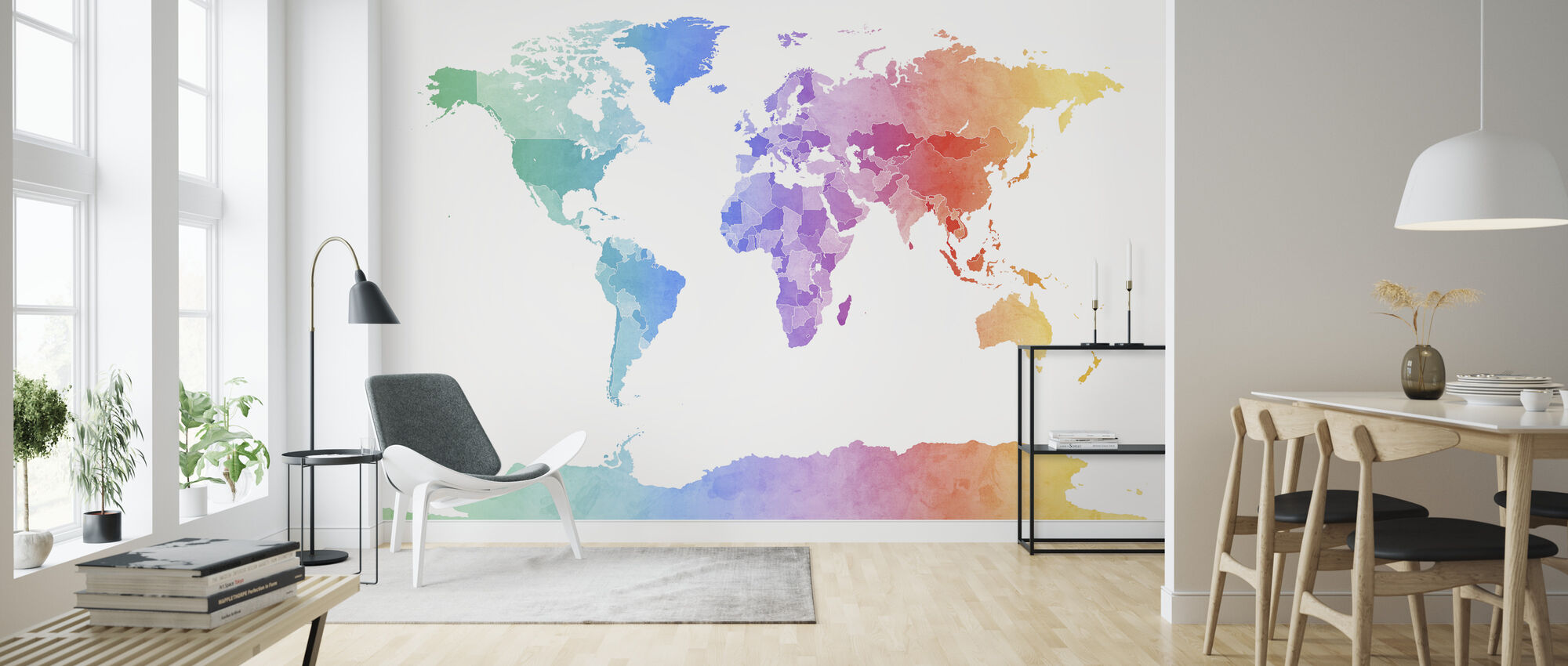 Watercolour World Map Soft Colors - Wallpaper - Living Room