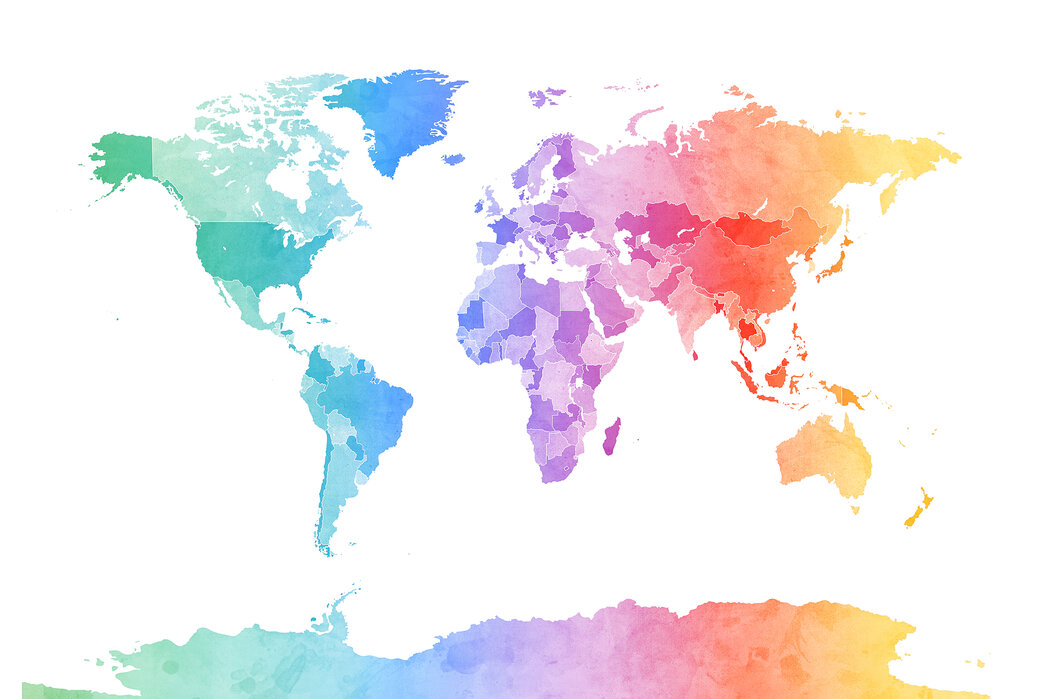 Watercolour World Map Soft Colors Affordable Wall Mural Photowall