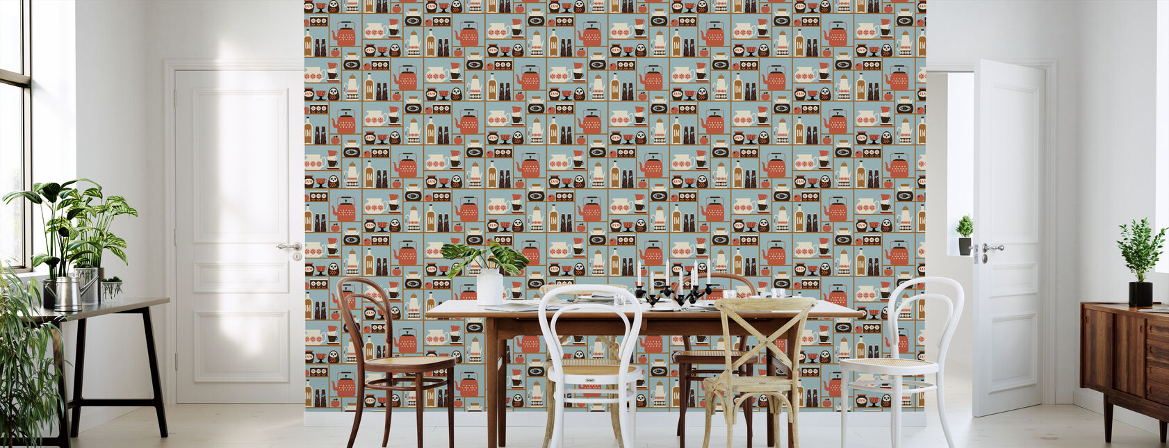 Kitchen Shelves - Light Blue - Wallpaper - Kitchen