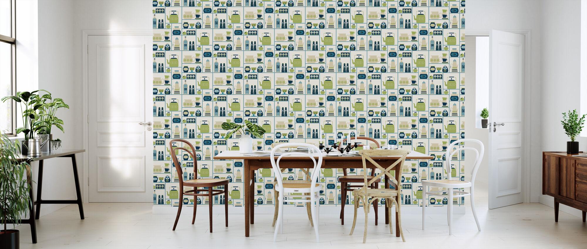 Kitchen Shelves - Light Green - Wallpaper - Kitchen