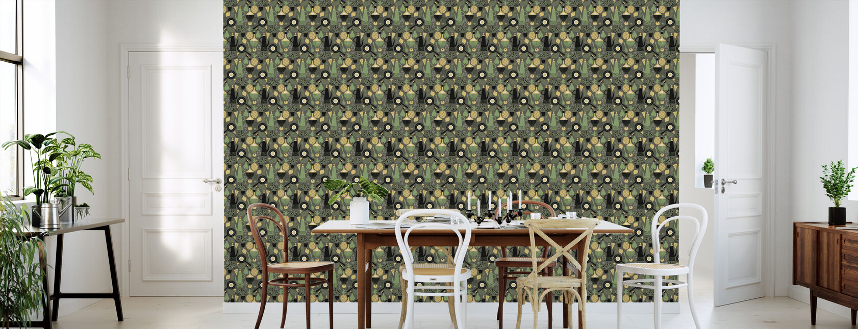 Pineapple & Pear - Dark Grey - Wallpaper - Kitchen
