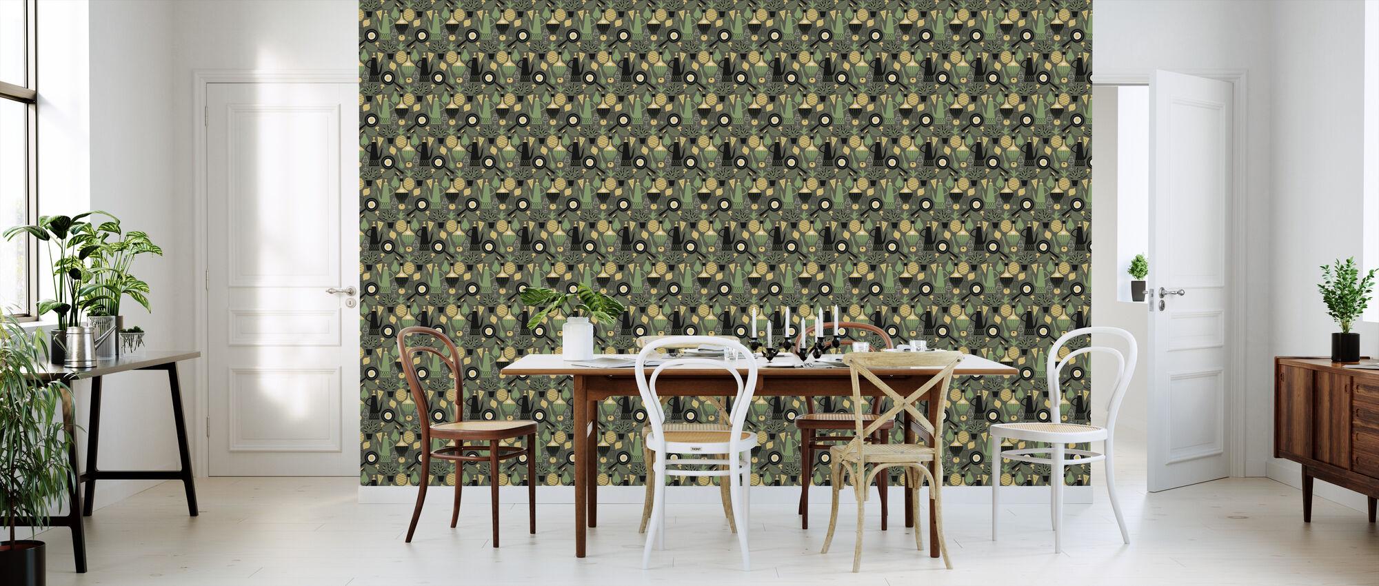 Pineapple & Pear - Dark Grey - Wallpaper - Kitchen