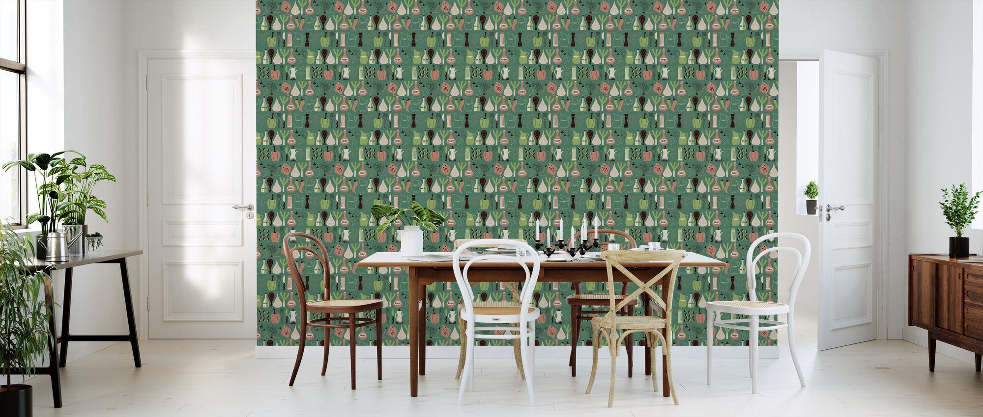 Vinegar - Green - Wallpaper - Kitchen