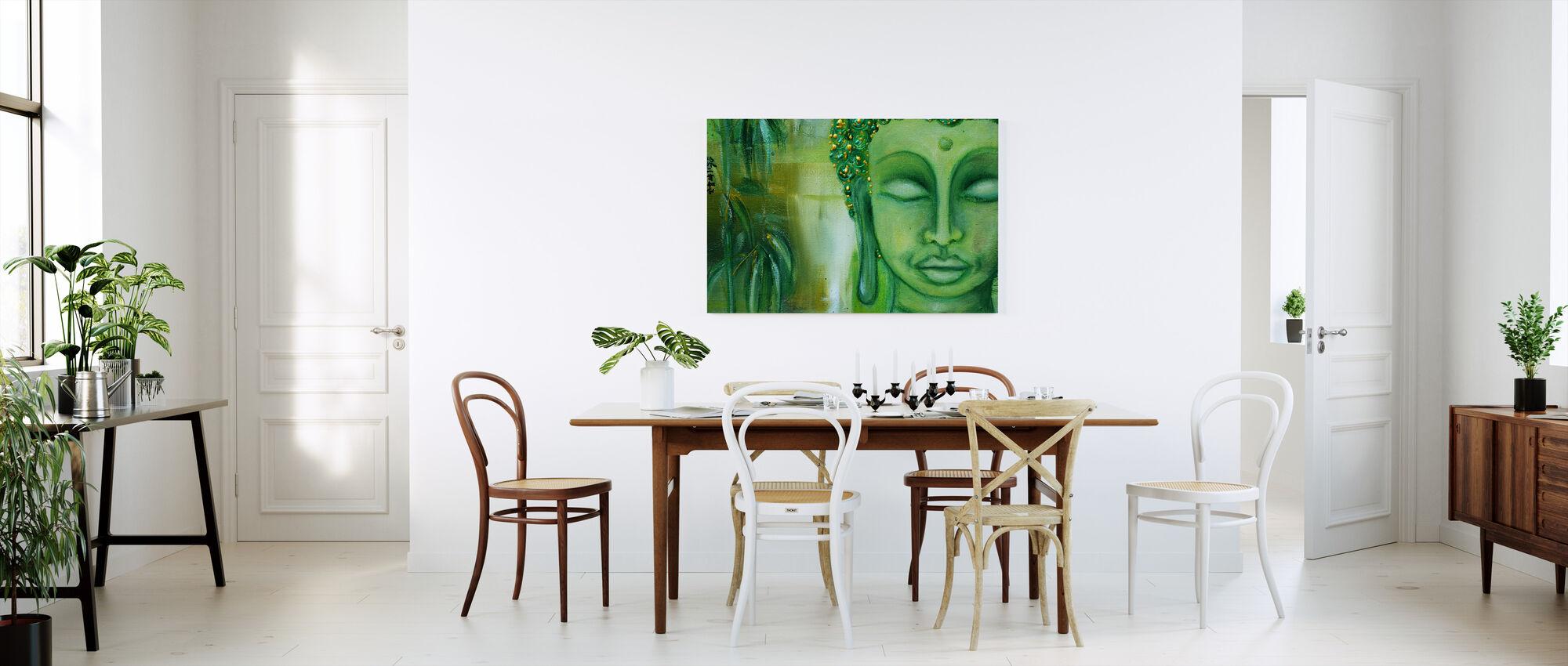 Buddha og grønne blade - Billede på lærred - Køkken