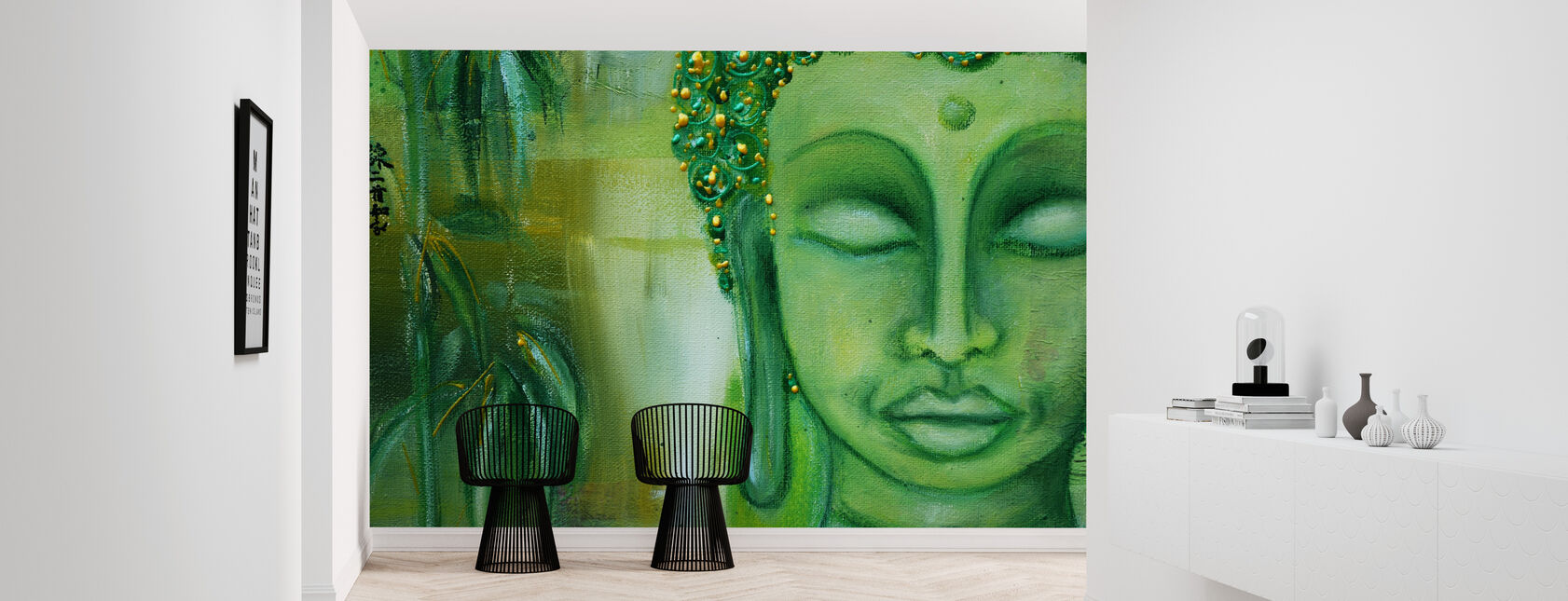Boeddha en groene bladeren - Behang - Gang