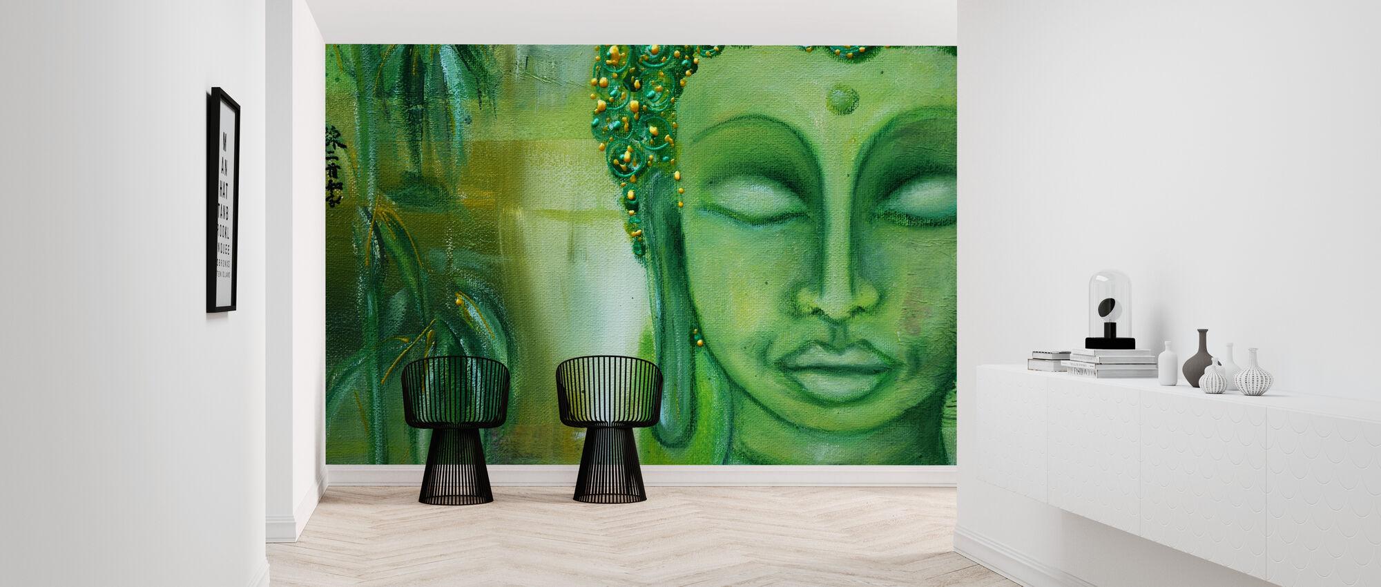 Buddha ja vihreät lehdet - Tapetti - Aula