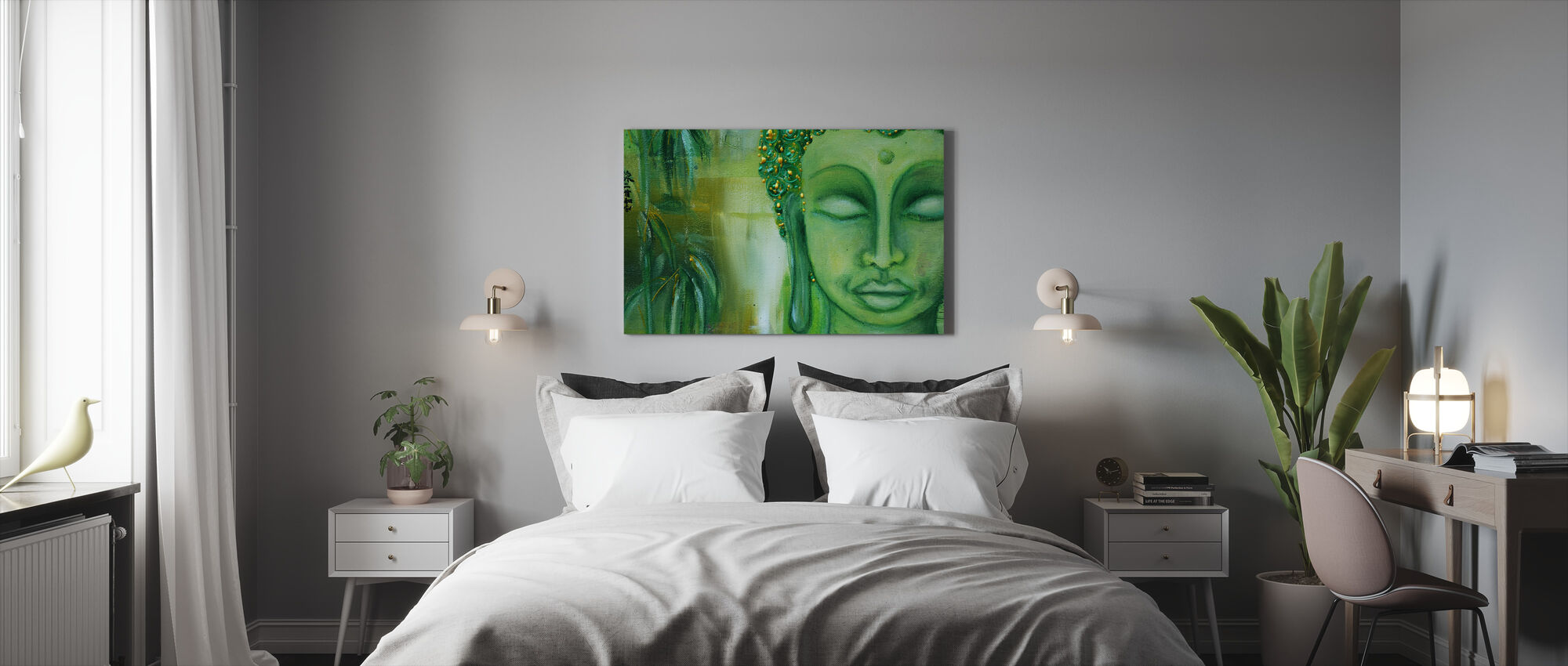 Buddha ja vihreät lehdet - Canvastaulu - Makuuhuone