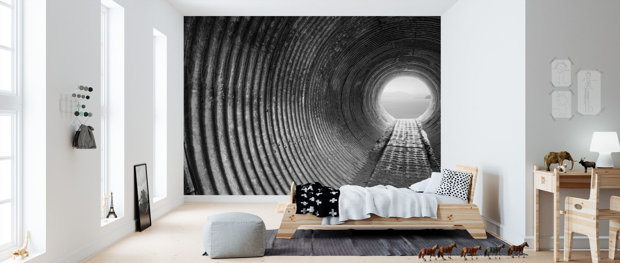 corrugated tunnel fototapete nach ma photowall. Black Bedroom Furniture Sets. Home Design Ideas