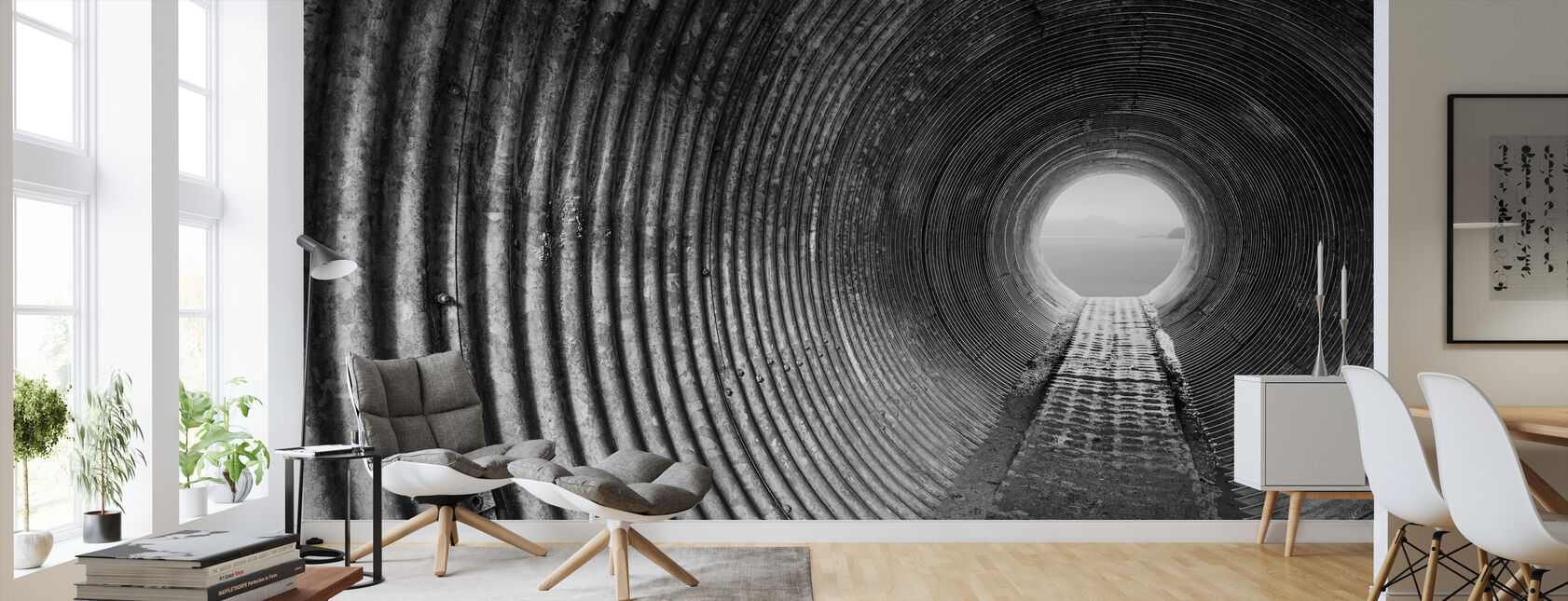 Corrugated Tunnel - Wallpaper - Living Room