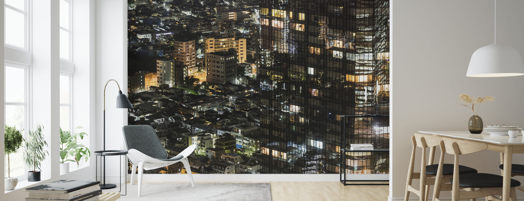 Skyscraper Merges with Residential Housing in Shinjuku - Wallpaper - Living Room