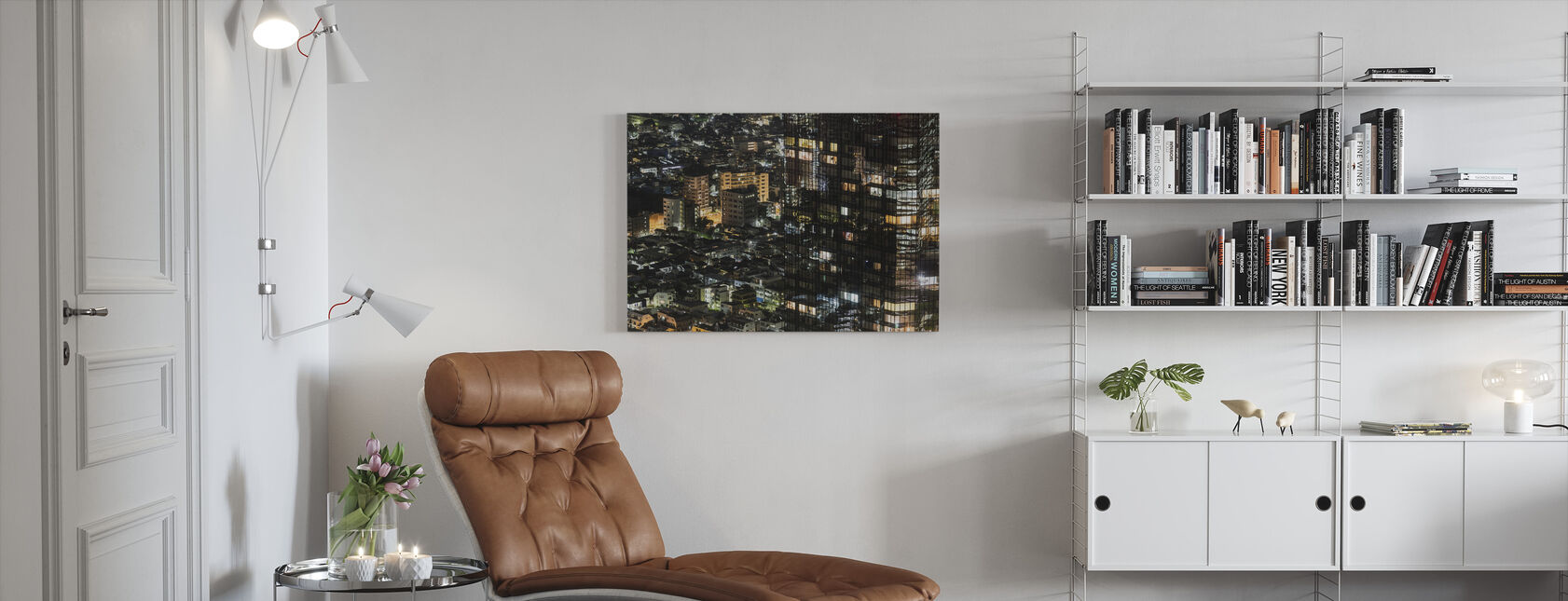 Skyscraper Merges with Residential Housing in Shinjuku - Canvas print - Living Room