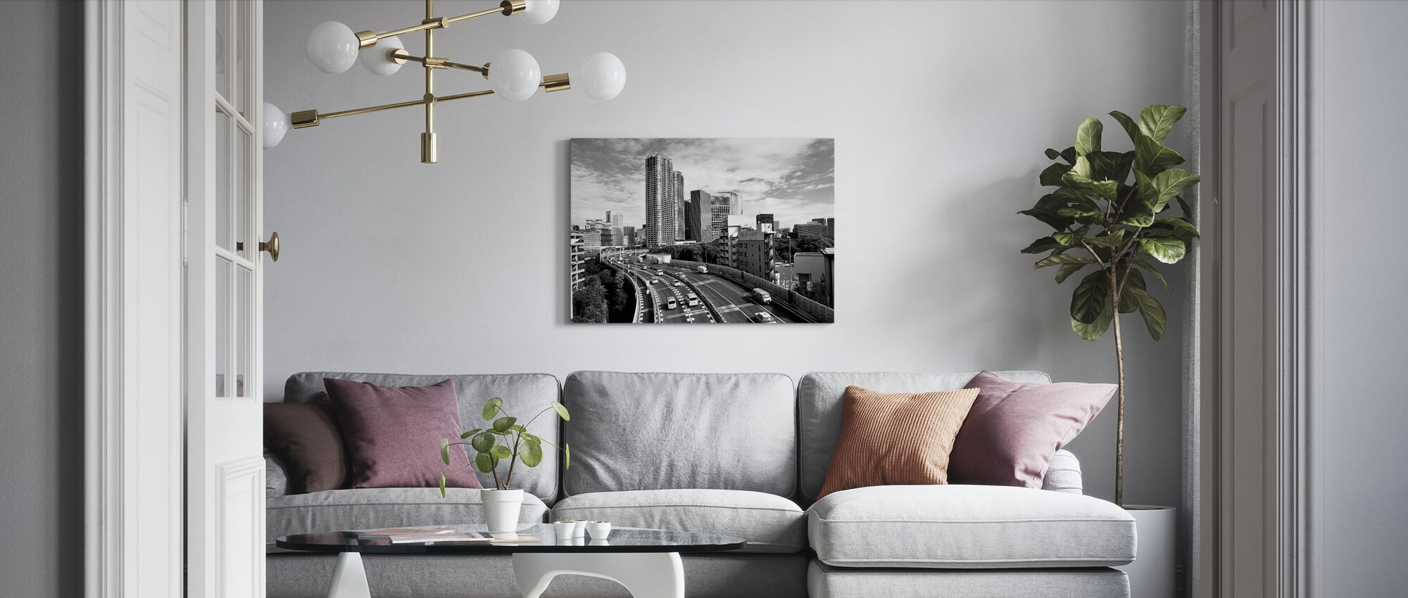 Passing Over the Expressway in the Sunny Morning - Canvas print - Living Room