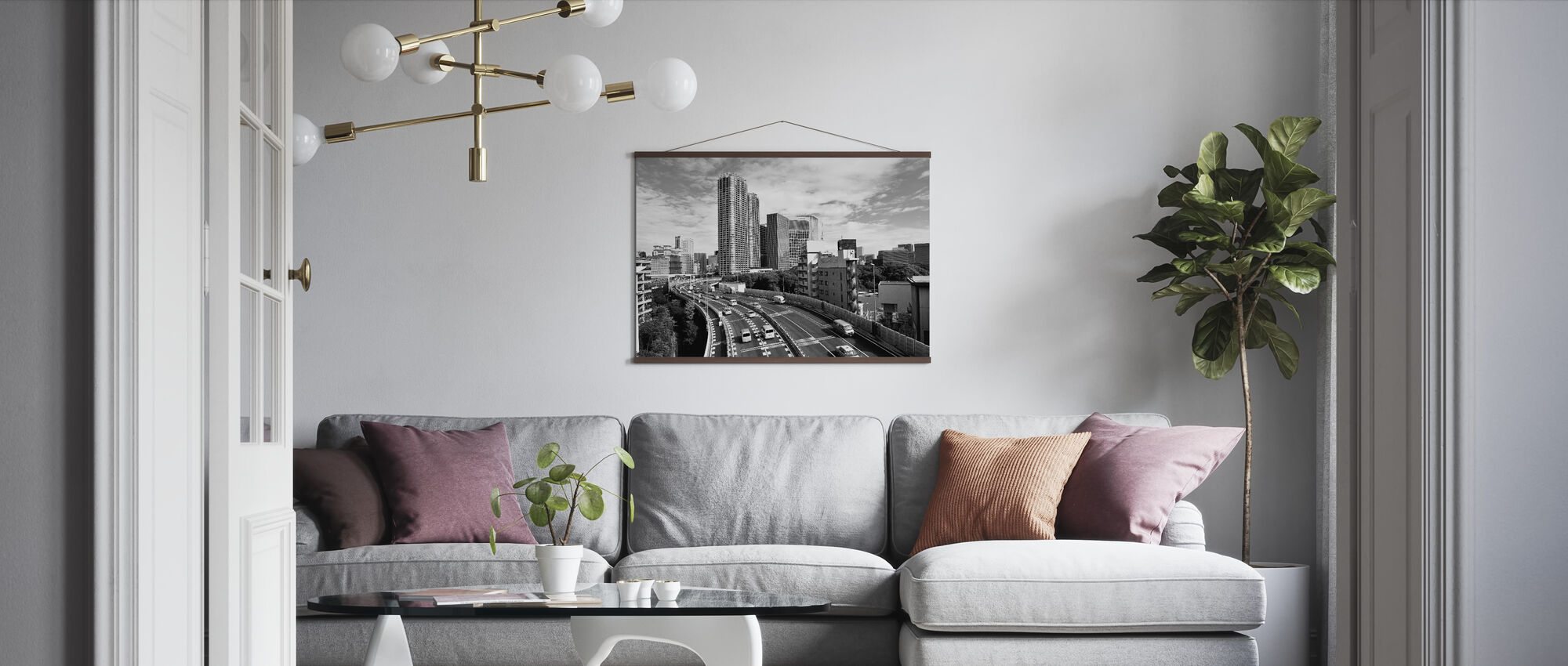 Passing Over the Expressway in the Sunny Morning - Poster - Living Room