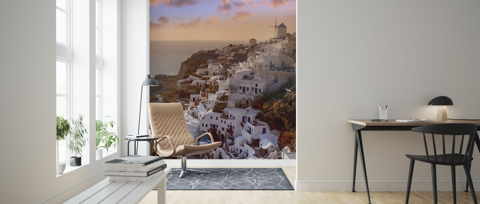 Santorini at Sunset - Wallpaper - Living Room