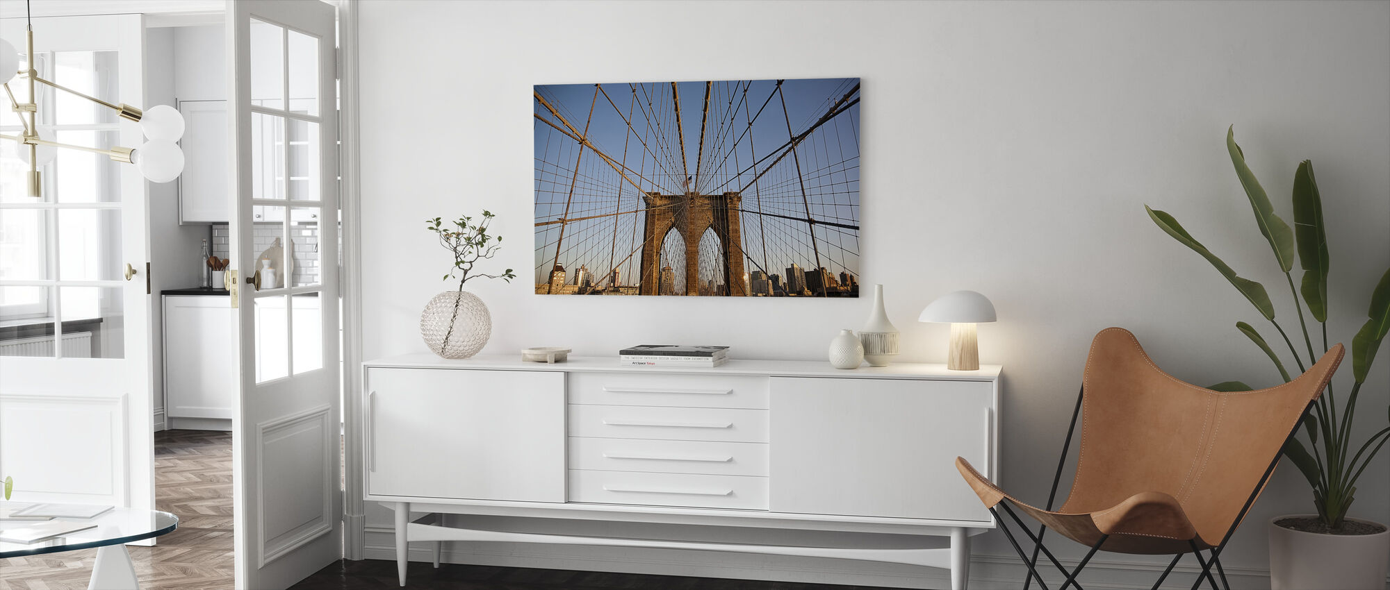 Suspension Wires on Urban Bridge - Canvas print - Living Room