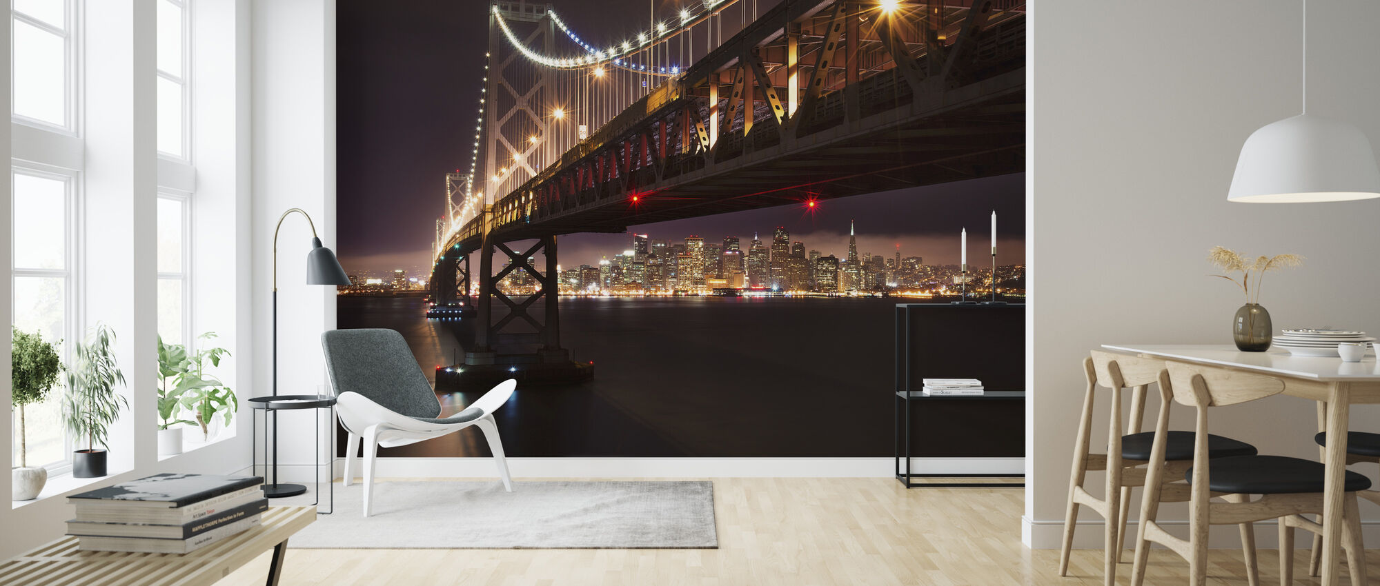 Bay Bridge in the Night - Wallpaper - Living Room