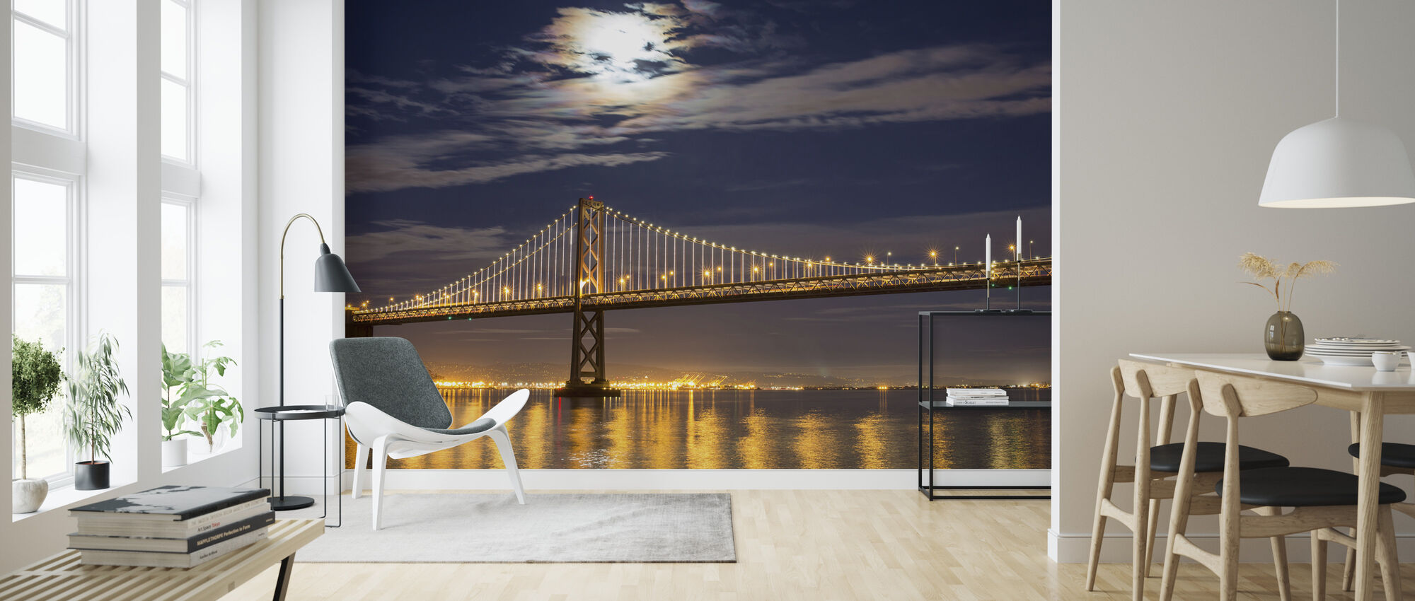 Moonrise over Bay Bridge - Wallpaper - Living Room