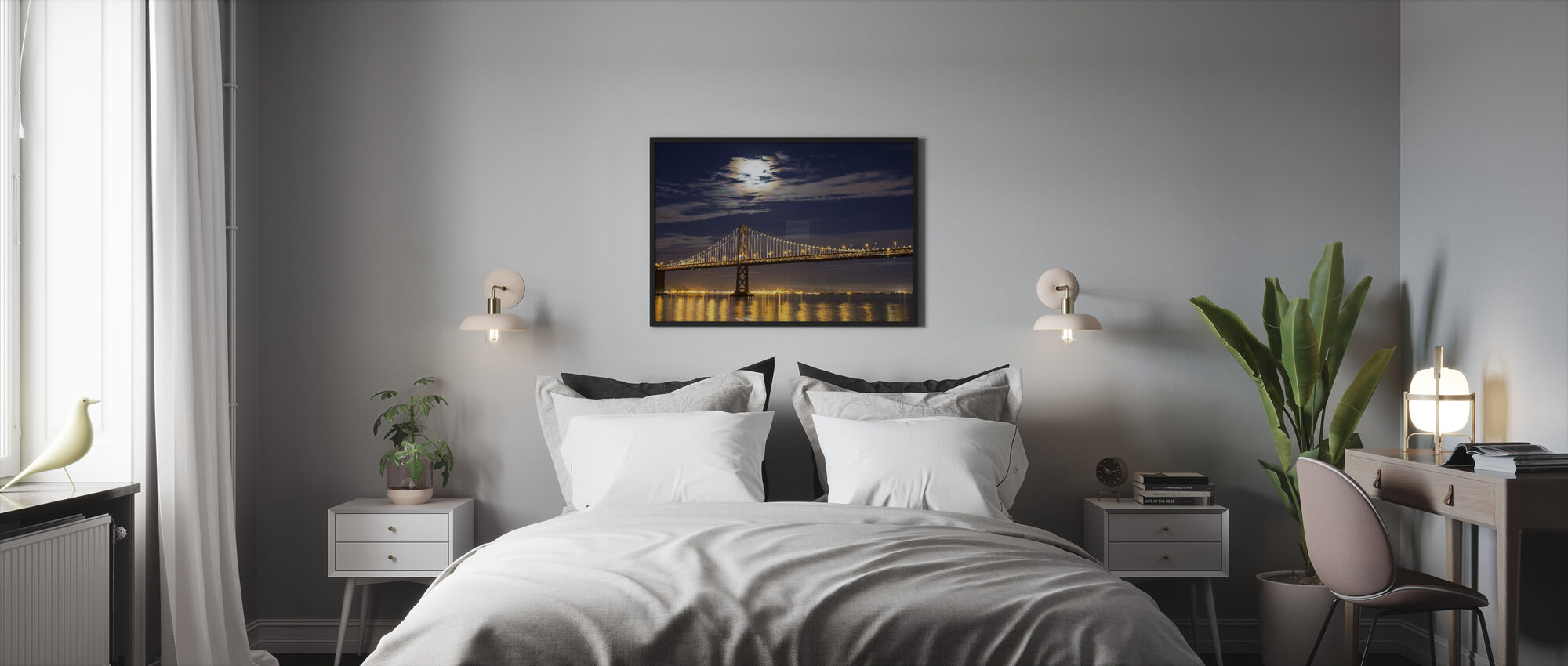 Moonrise over Bay Bridge - Framed print - Bedroom