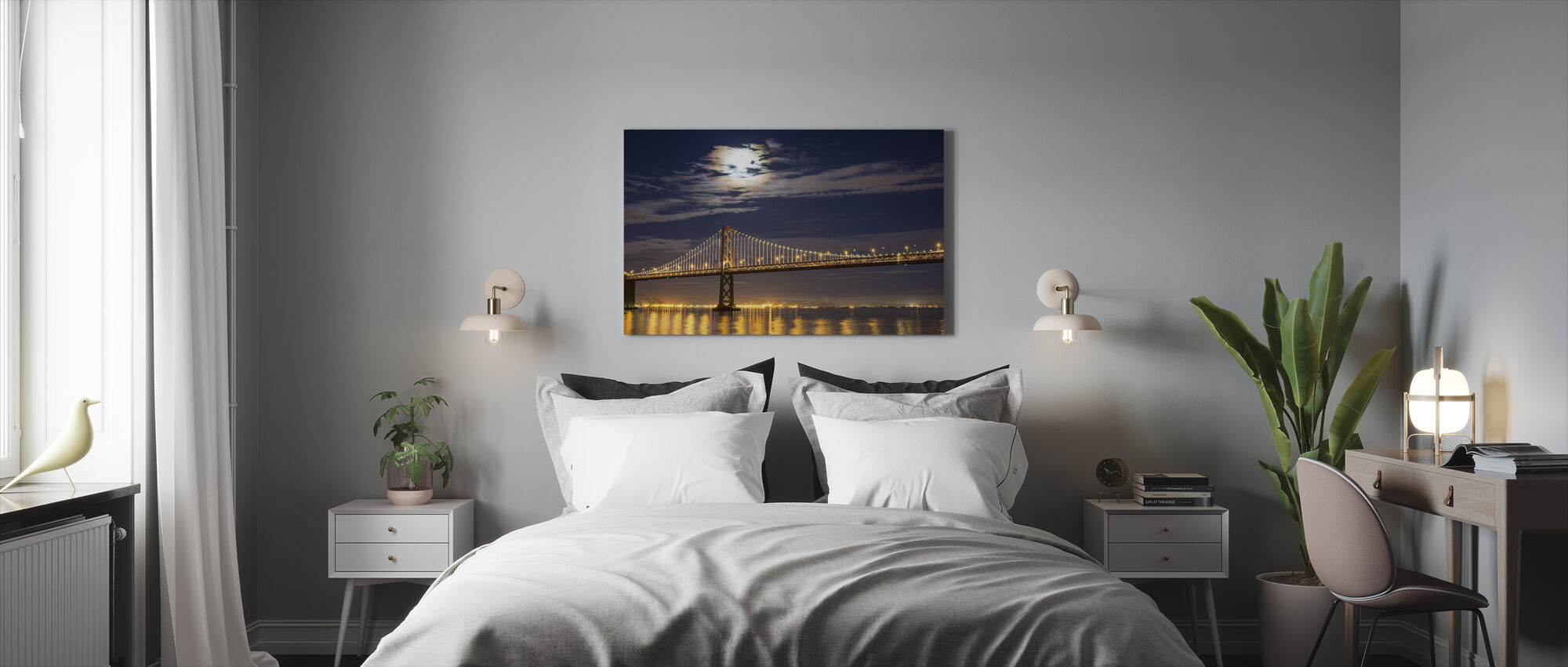 Moonrise over Bay Bridge - Canvas print - Bedroom