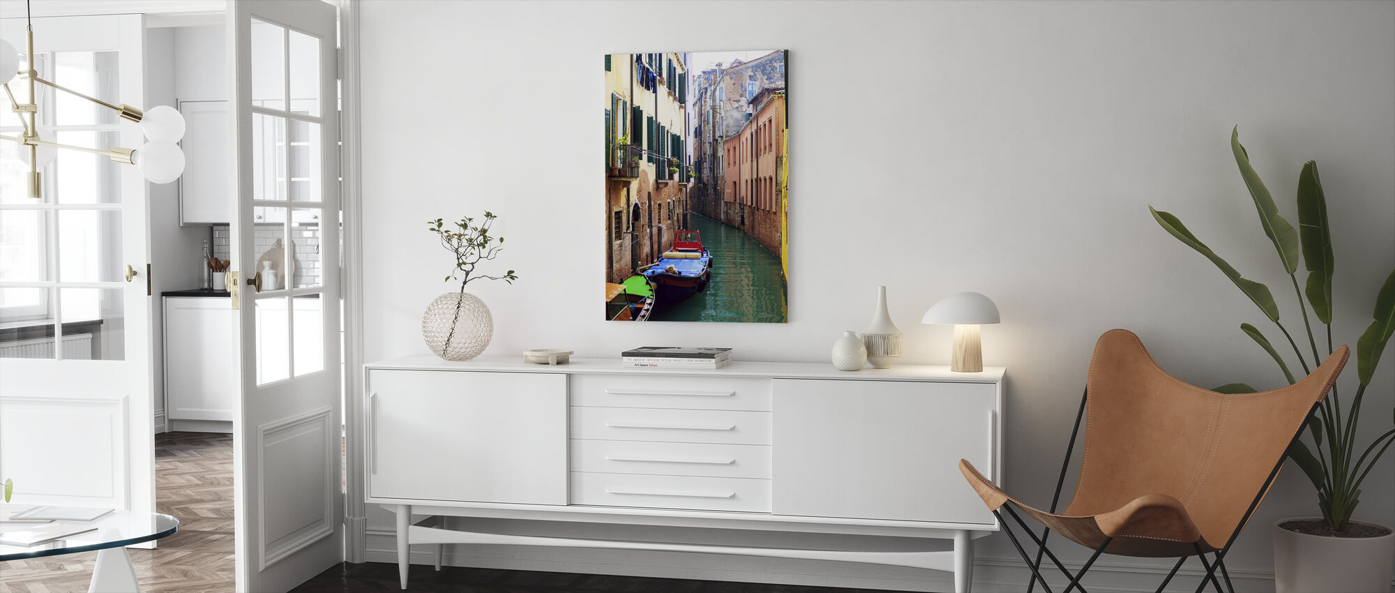 Coloured Boats Moored in Back Street Canal - Canvas print - Living Room