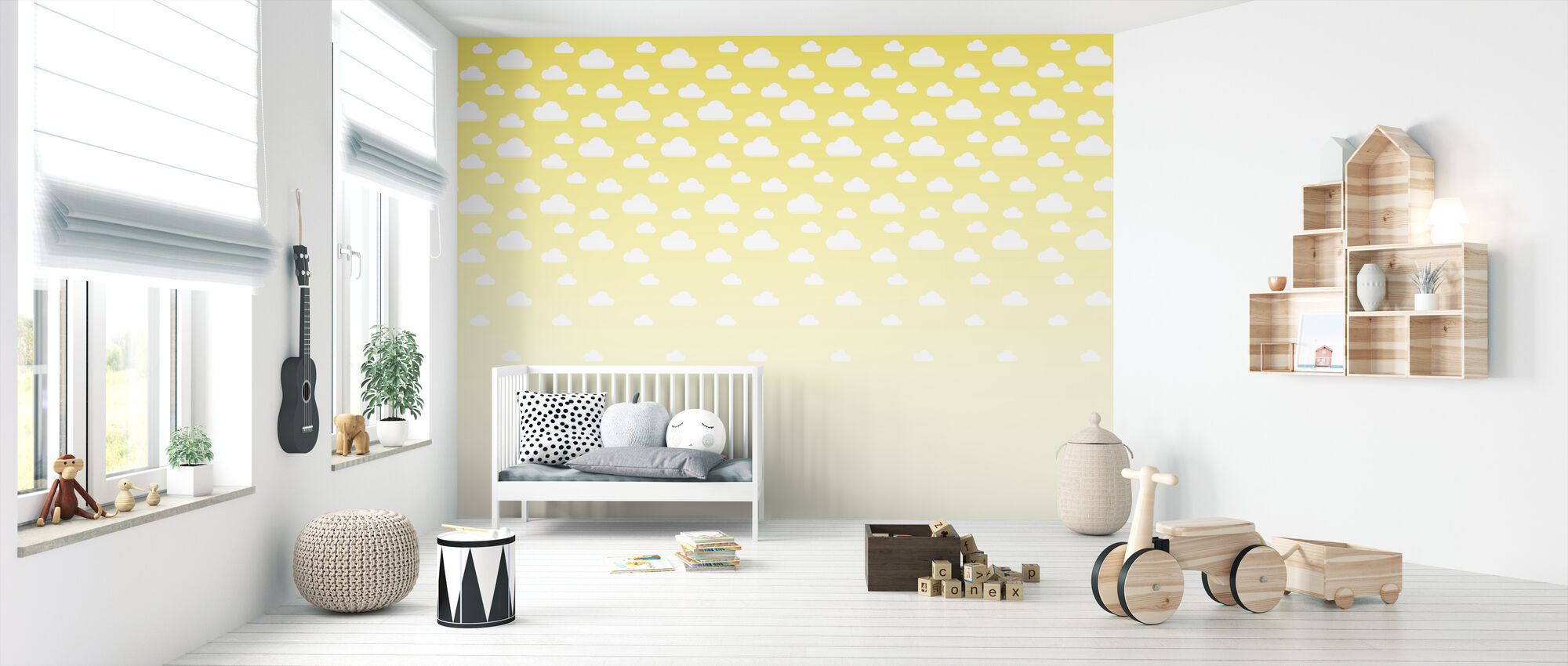 Cumulus - Yellow - Wallpaper - Nursery
