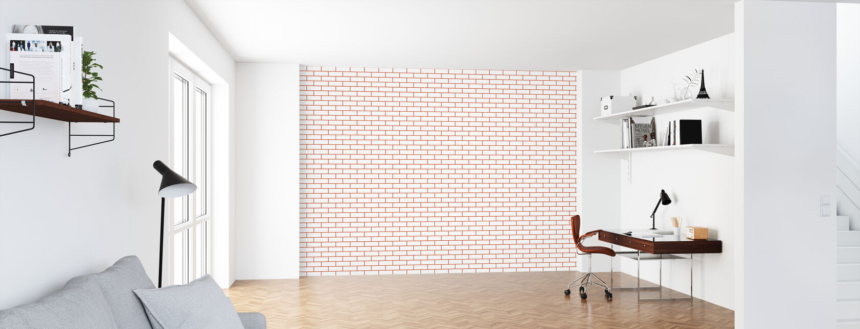 Tegel - White Red - Wallpaper - Office