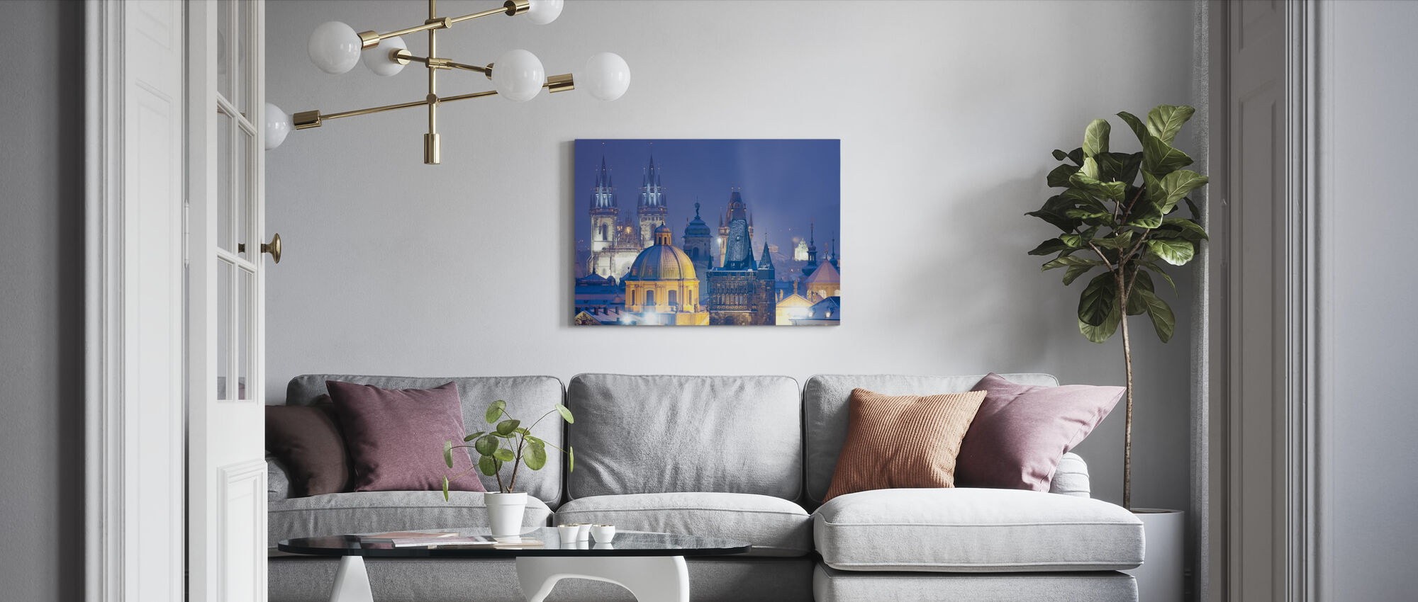 Prag bei Nacht - Leinwandbild - Wohnzimmer