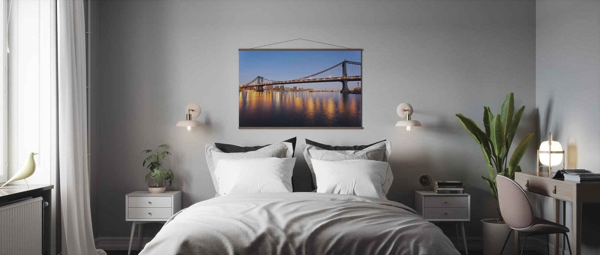 Bridge Lights Reflected in New York - Poster - Bedroom