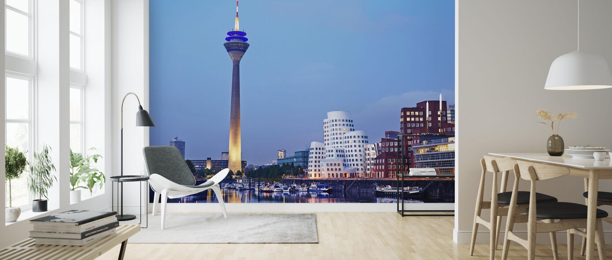 Düsseldorf's Rheinturm Tower at Dusk - Wallpaper - Living Room