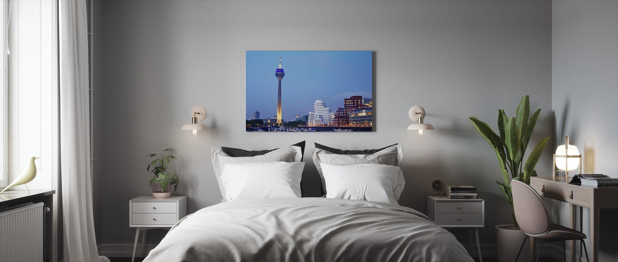 Düsseldorf's Rheinturm Tower at Dusk - Canvas print - Bedroom