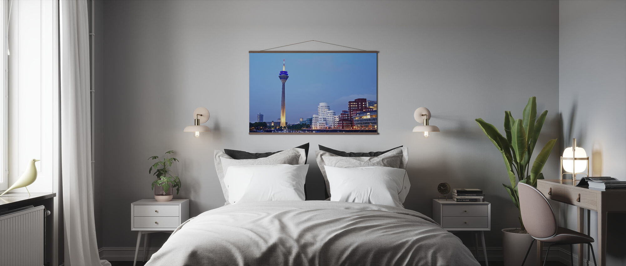 Düsseldorf's Rheinturm Tower at Dusk - Poster - Bedroom