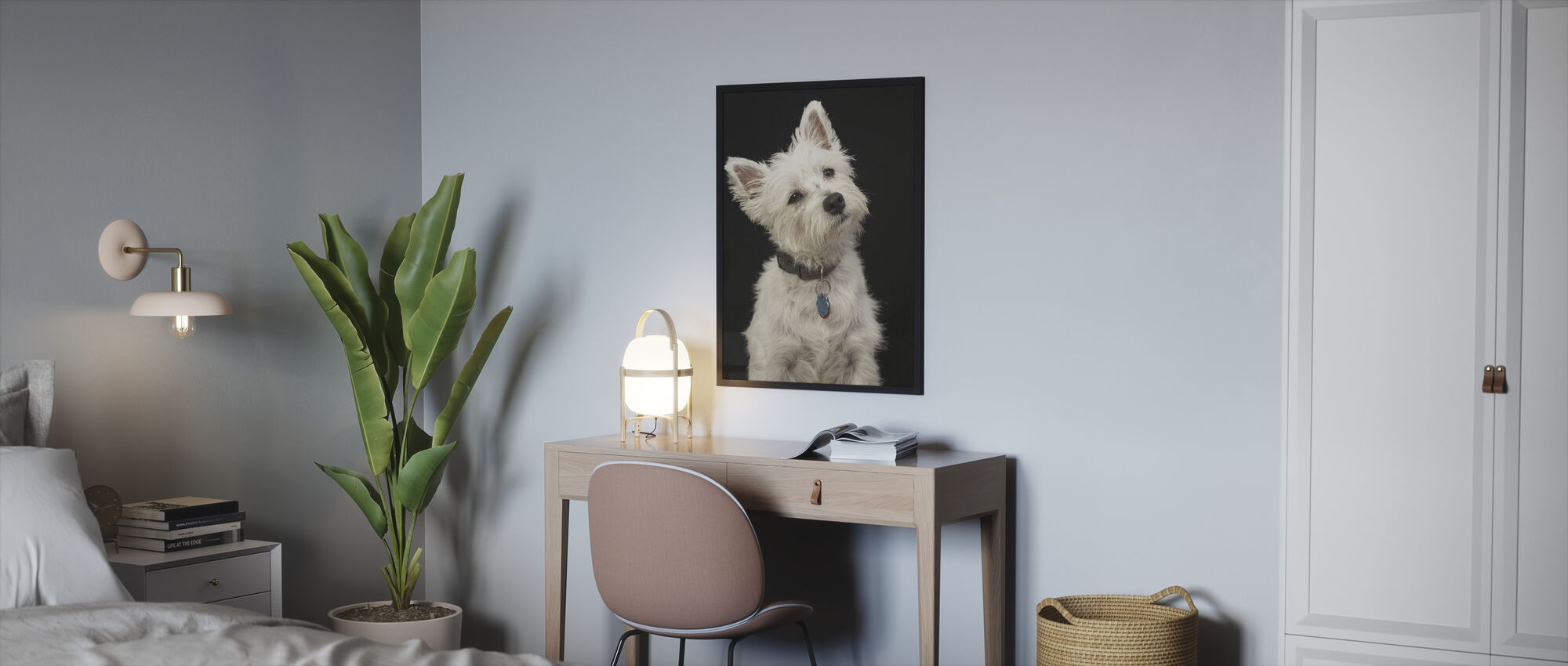 West Highland-Terrier - Ingelijste print - Slaapkamer