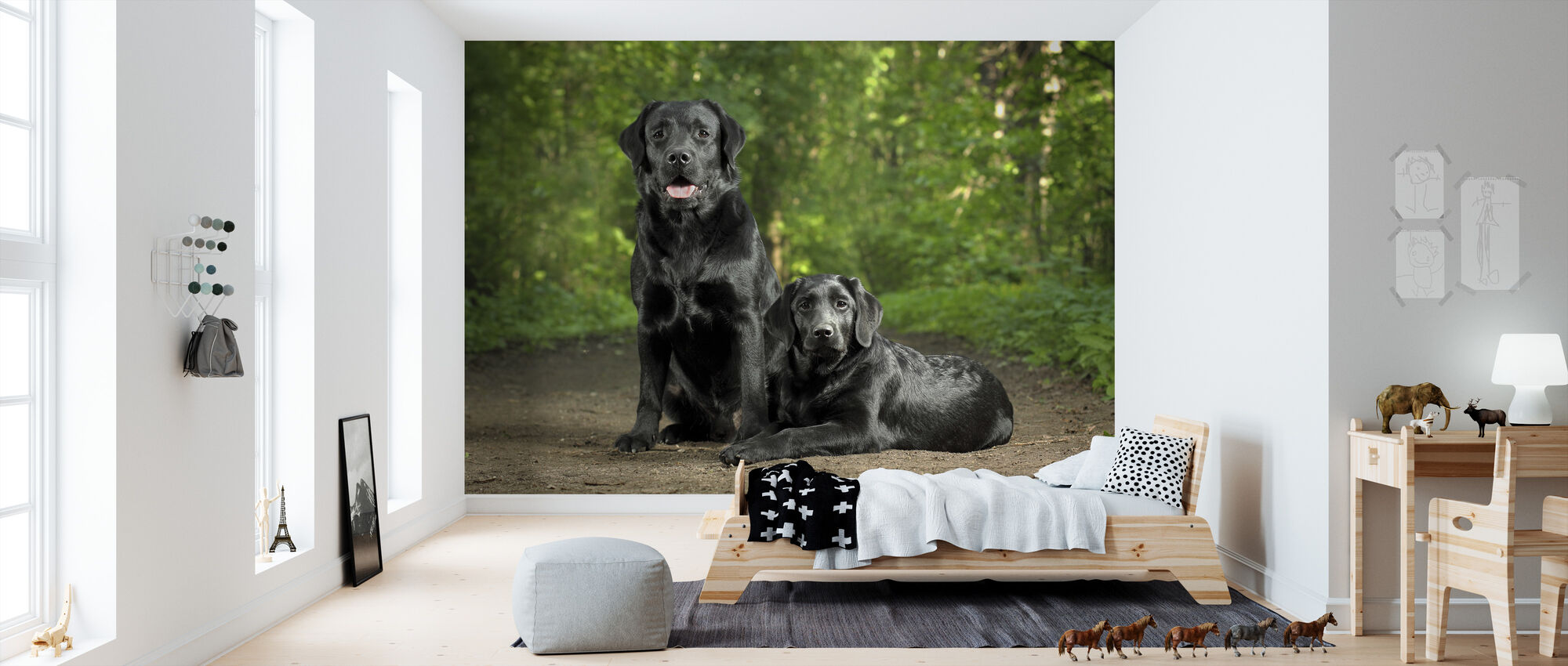Two Black Labradors - Wallpaper - Kids Room