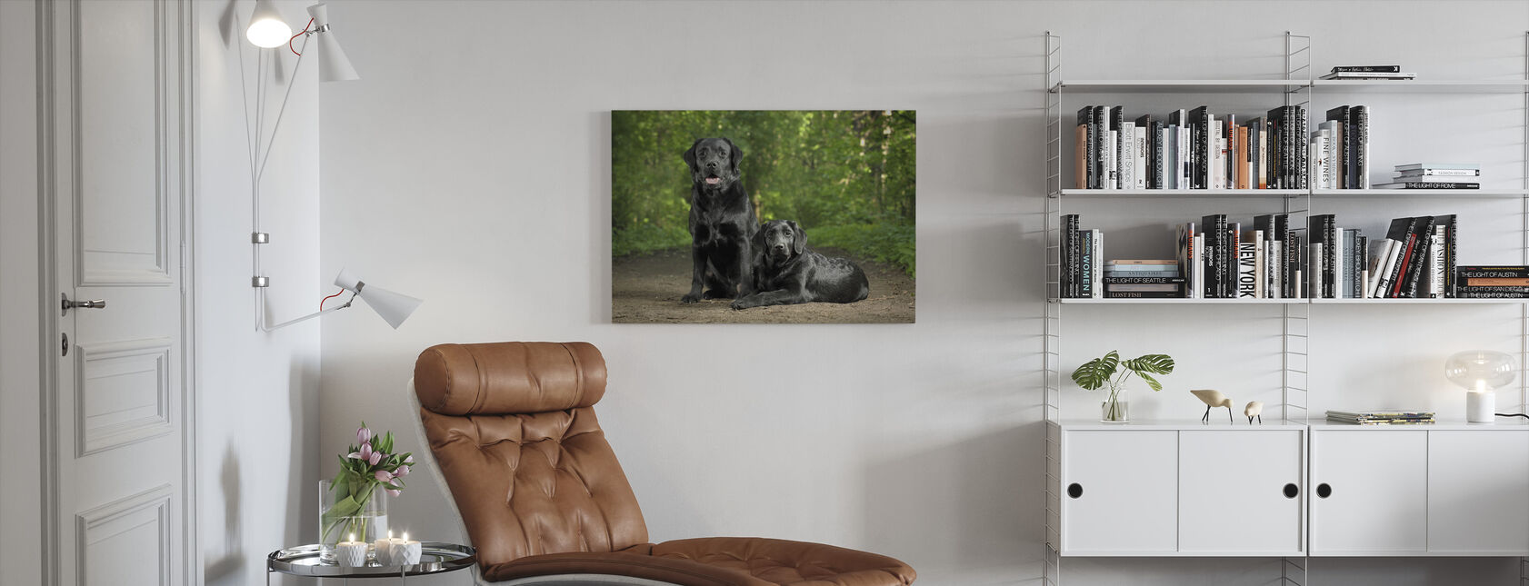 Two Black Labradors - Canvas print - Living Room