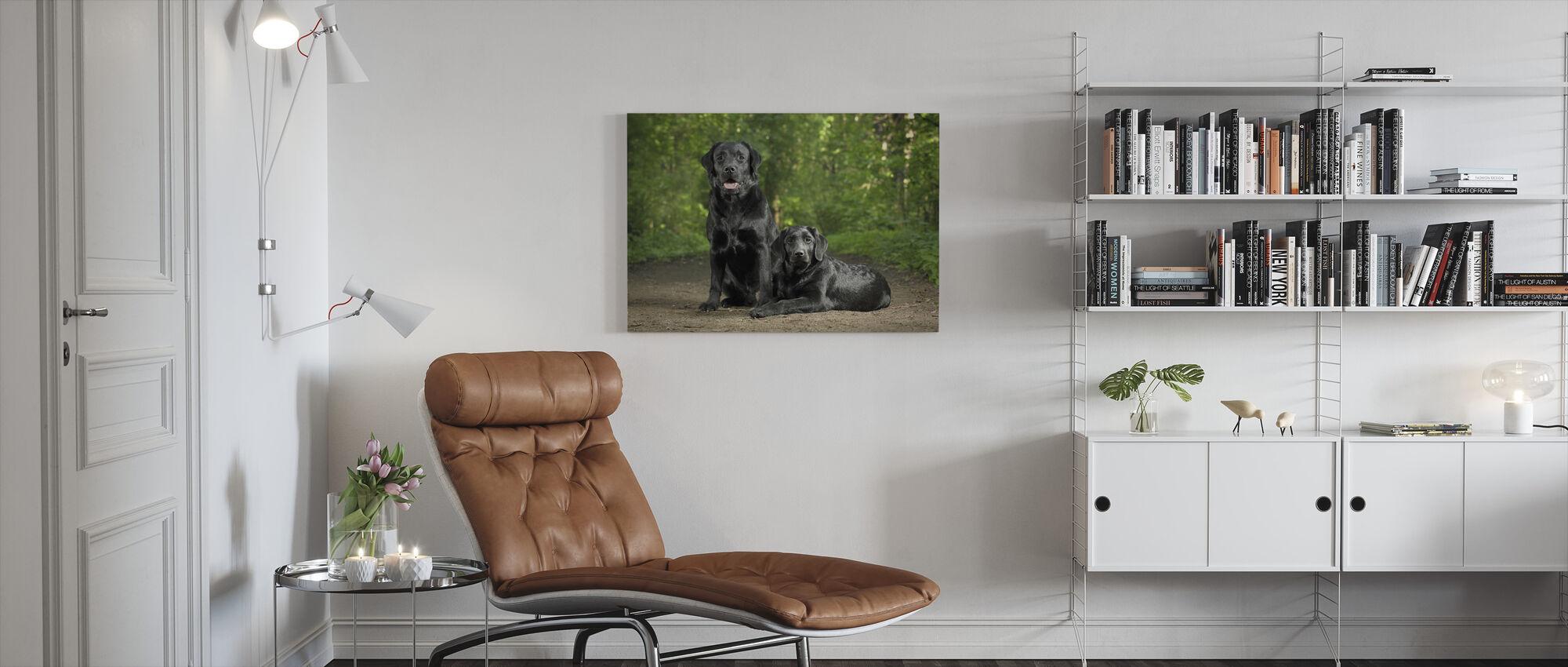 Dwa Czarne Labradory - Obraz na płótnie - Pokój dzienny