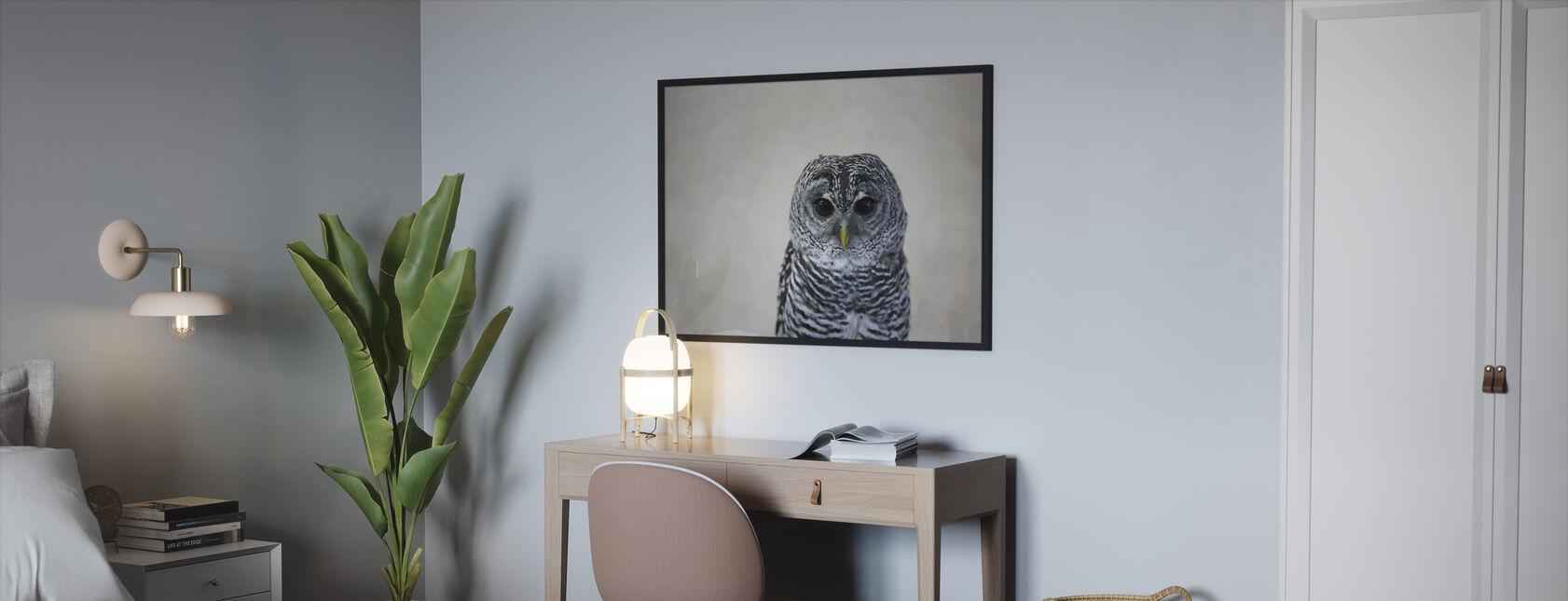 Portret van een uil - Ingelijste print - Slaapkamer